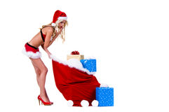 Mevr. Santa Christmas Gift Bag Royalty-vrije Stock Afbeelding