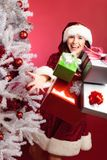 Mevr. Santa Claus With Christmas Tree Stock Foto's