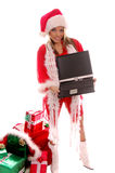 Mevr. Santa Laptop royalty-vrije stock foto