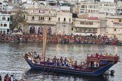 Mewar festiwal w Udaipur, India Kwiecień 2016 Rajasthan Zdjęcia Royalty Free