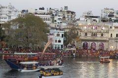 Mewar festiwal w Udaipur, India Kwiecień 2016 Rajasthan Obrazy Stock