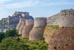 Kumbhalgarh fort and wall in rajasthan, india. A Mewar fortress on the westerly range of Aravalli Hills, in the Rajsamand district near Udaipur of Rajasthan Stock Images