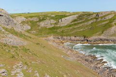 Mewslade Bay The Gower peninsula south coast near Swansea South Wales UK with tide in Royalty Free Stock Images