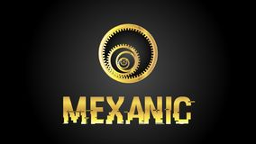 Mexanic gouden embleem EPS royalty-vrije stock afbeeldingen