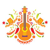 Mexia, guitar and various elements Royalty Free Stock Image