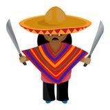 Mexicaan in een sombrero en prei met een machete in zijn hand Royalty-vrije Stock Afbeelding
