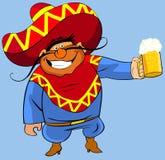 Mexicaan met een bier. vector illustratie