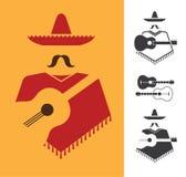 Mexicaan met gitaar Royalty-vrije Stock Afbeeldingen