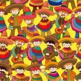 Mexicaans de mensen naadloos patroon van het beeldverhaal Stock Afbeelding