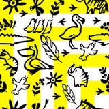Mexicaans geel, wit naadloos patroon Zwarte silhouetten van dieren en planten Royalty-vrije Stock Afbeeldingen