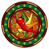 Mexicaans heet Spaanse peperembleem Stock Afbeelding