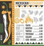 Mexicaans het ontwerpmalplaatje van het restaurantmenu Stock Fotografie