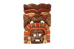 Mexicaans masker dat in hout wordt gesneden dat op wit wordt geïsoleerdg Royalty-vrije Stock Afbeelding