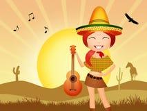 Mexicaans meisje met gitaar royalty-vrije illustratie