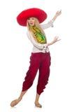 Mexicaans meisje met sombrero die op wit dansen Stock Afbeeldingen