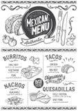Mexicaans menurestaurant, voedselmalplaatje stock illustratie