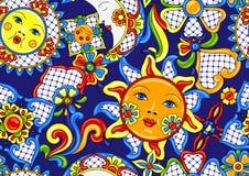 Mexicaans patroon met leuke na?eve kunstpunten stock illustratie