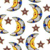 Mexicaans patroon met manen en sterren royalty-vrije illustratie