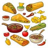 Mexicaans traditioneel die voedsel met Guacamole, Enchilada, Burrito, Taco's, Nachos wordt geplaatst Stock Foto's
