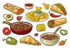 Mexicaans traditioneel die voedsel met Guacamole, Enchilada, Burrito, Taco's, Nachos wordt geplaatst vector illustratie