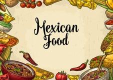 Mexicaans traditioneel het menumalplaatje van het voedselrestaurant met ingrediënt royalty-vrije illustratie