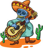 Mexicaans traditioneel karakter met gitaar Stock Foto