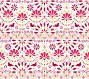 Mexicaans traditioneel volkskunst vector naadloos geometrisch patroon met bloemen en vogels, oranje en rood die fiestaontwerp doo vector illustratie