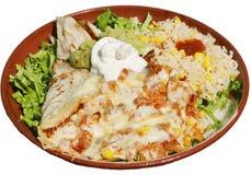Mexicaans voedsel met avocado, kaas, rijst en groene salade Stock Fotografie