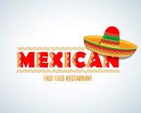 Mexicaans voedselembleem Mexicaans Snel voedsel logotype malplaatje Het geïsoleerde Vectormalplaatje van het embleemontwerp vector illustratie