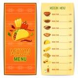 Mexicaans Voedselmenu Stock Fotografie
