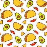 Mexicaans voedselpatroon stock illustratie