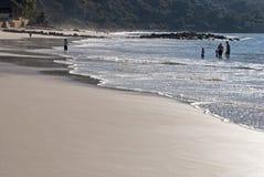 Mexicaans Vreedzaam Oceaanstrand met zwemmers Stock Afbeeldingen