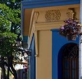 Mexicaanse architectuur en vleiende straatscène stock afbeelding