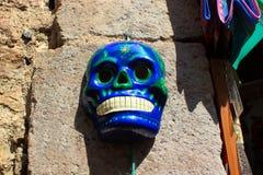 Mexicaanse Azteekse blauwe schedelskeleton dias DE los muertos dag van de dode dood stock afbeeldingen