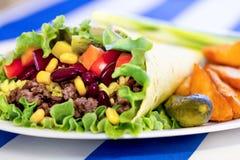 Mexicaanse burrito met fijngehakt rundvleesvlees Stock Afbeelding