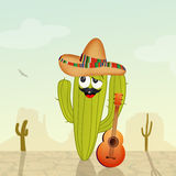 Mexicaanse cactus in de woestijn royalty-vrije illustratie
