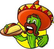Mexicaanse Cactus met Taco royalty-vrije illustratie