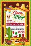 Mexicaanse Cinco de Mayo-banner met vakantiesymbolen