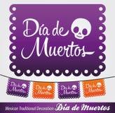 Mexicaanse Dag van de decoratie van de doods Spaanse tekst stock illustratie