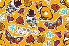 Mexicaanse Dag van de Doden Dia DE Los Muertos Naadloos patroon met een menselijke schedel in een hoed, een kat, een mot Hyles, b royalty-vrije illustratie