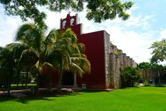 Mexicaanse de architectuurhistoria van kerkmerida churbunacolonial royalty-vrije stock afbeelding