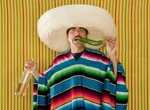 Mexicaanse de sombreromens van snorSpaanse peper gedronken tequila stock afbeeldingen