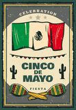 Mexicaanse de vakantie retro banner van Cinco de Mayo