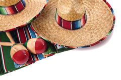 Mexicaanse deken en sombrero's Stock Afbeeldingen