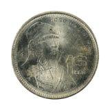 1 Mexicaanse die obvers van het pesomuntstuk 1986 op witte achtergrond worden geïsoleerd stock afbeeldingen
