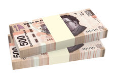 Mexicaanse die peso's op witte achtergrond worden geïsoleerd Stock Afbeeldingen