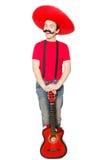 Mexicaanse geïsoleerde gitaarspeler Stock Afbeelding