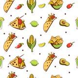 Mexicaanse keuken Een reeks populaire Mexicaanse schotels Snel voedsel Vec royalty-vrije illustratie
