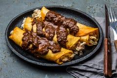 Mexicaanse keuken Traditionele Mexicaanse kippenenchiladas met kruidige de molpoblano van chocoladesalsa Enchiladas met saus Stock Afbeelding
