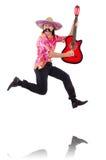 Mexicaanse mannelijke het zwaaien geïsoleerde gitaar Stock Foto's